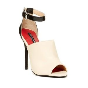 Charles Jourdan 'Casey' Cream &Black Leather Heels